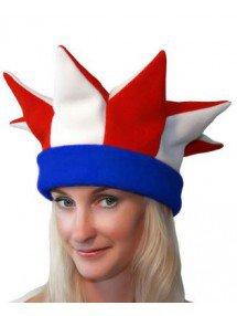 Бело-красно-синяя шапка петрушки и скомороха