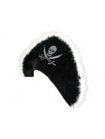 Черная шляпа пирата с белой опушкой