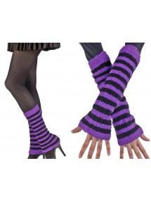 Черно-фиолетовые нарукавники и гетры