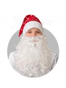 Колпак красный с бородой из плюша со снежинками