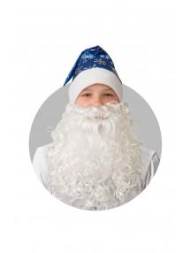 Колпак синий с бородой и снежинками