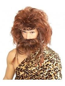 Коричневый парик пещерного человека