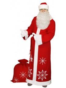 Красный костюм Белые снежинки для Деда Мороза с бородой