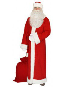 Красный костюм Деда Мороза на Новый Год с бородой