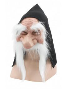Маска гнома с капюшоном и белой бородой