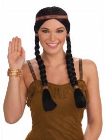 Парик индейской девушки с двумя косичками