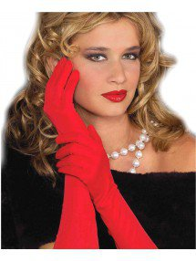 Изысканные красные длинные перчатки