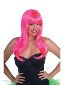 Розовый неоновый парик
