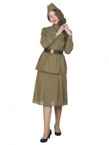 Взрослый костюм военный гимнастерка с юбкой