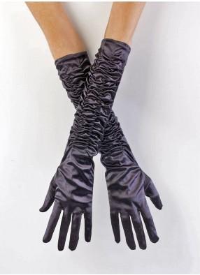 Атласные чёрные перчатки со сборкой