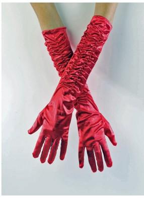 Атласные красные перчатки со сборкой
