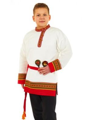 Белая косоворотка с кушаком для мальчика