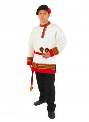 Белая косоворотка с кушаком для мужчин