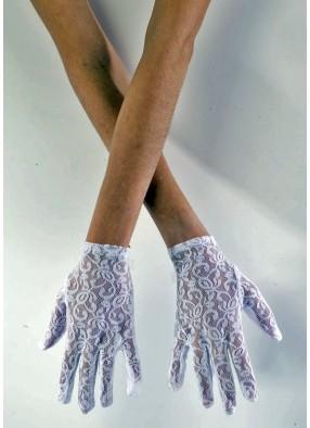 Белые кружевные перчатки 20 см
