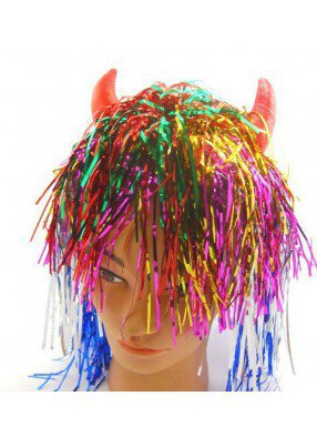 Блестящий разноцветный парик с красными рожками
