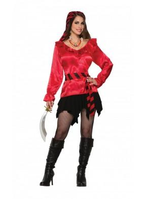 Блуза пиратки красная 1 фото