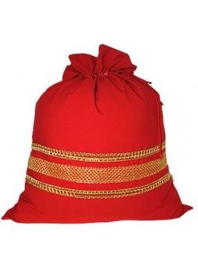Большой красный новогодний мешок с золотой тесьмой
