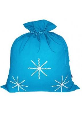 Большой подарочный мешок Белые снежинки голубой