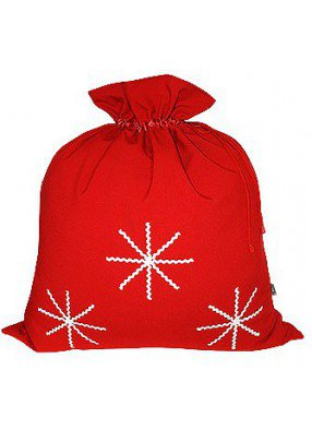 Большой подарочный мешок Белые снежинки красный