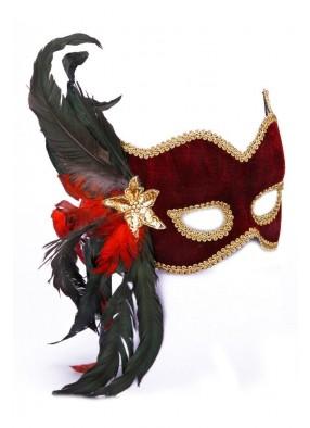 Бордовая карнавальная маска