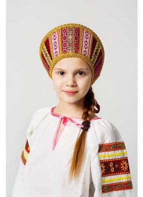 Бордовый русский народный кокошник