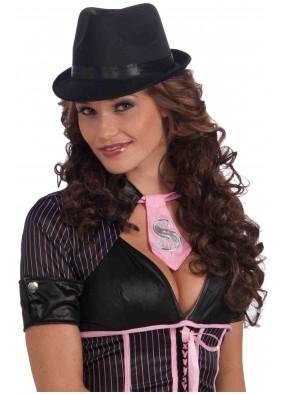 Черная гангстерская шляпа с атласной лентой