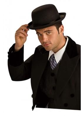 Черная шляпа-котелок красавца