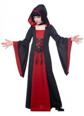 Черно-красный костюм колдуньи для девочки