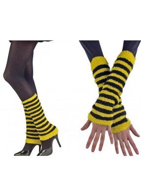 Черно-желтые нарукавники и гетры 2в1