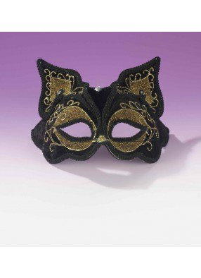 Черно-золотая маска кошечки