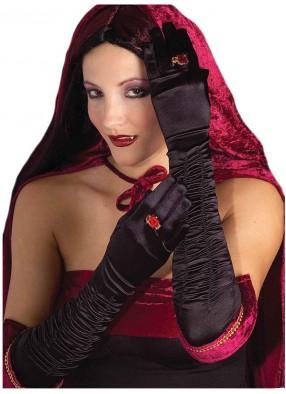 Черные длинные перчатки со сборкой