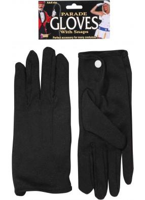 Черные короткие перчатки с кнопочкой