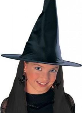 Детская шляпа ведьмы с черными волосами
