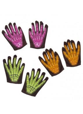 Детские перчатки скелета 3D неон