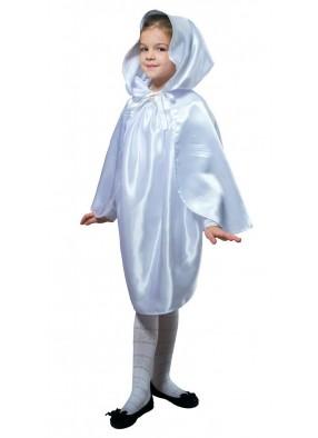Детский плащ белый короткий с капюшоном фото