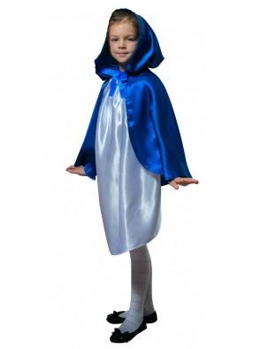 Детский плащ синий короткий с капюшоном фото