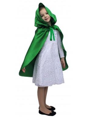 Детский плащ зеленый короткий с капюшоном фото