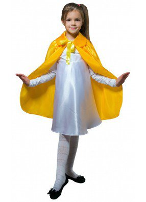 Детский плащ желтый длинный с воротником фото