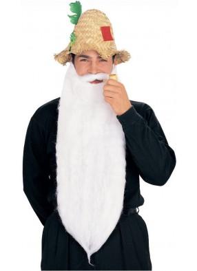 Длинная белая борода с усами