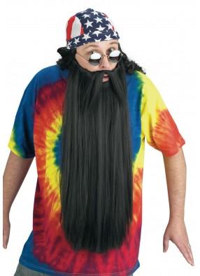 Длинная борода и усы черного цвета фото