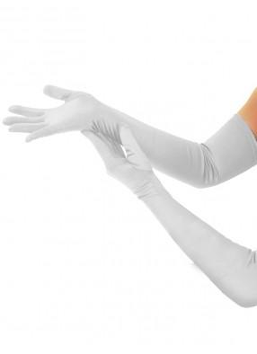 Длинные белые атласные перчатки