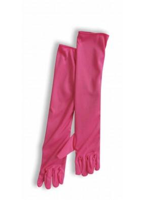 Длинные элегантные розовые перчатки