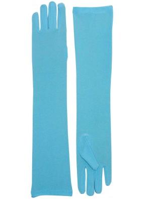 Длинные голубые перчатки