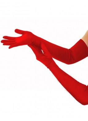 Длинные красные атласные перчатки