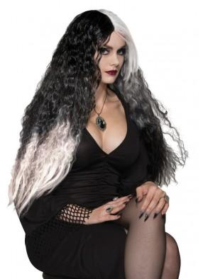Длинный парик Ведьмы черно-белый