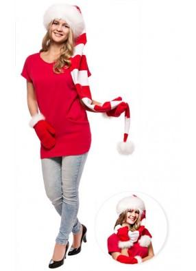 Длинный супер колпак Деда Мороза красно-белый