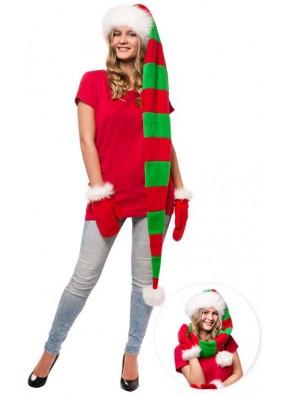 Длинный супер колпак Деда Мороза красно-зеленый