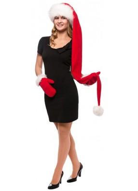 Длинный супер колпак Деда Мороза красный