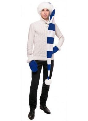 Длинный супер колпак Деда Мороза сине-белый