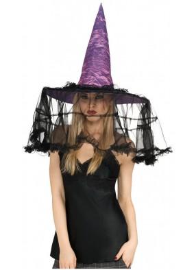 Фиолетовый колпак с черной вуалью